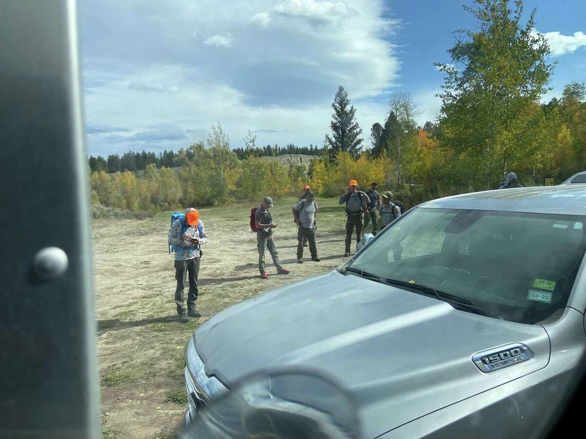 A team in the Spread Creek Dispersed Camping Area prepares to search for missing woman Gabby Petito on the morning of Saturday, Sept. 18, 2021.