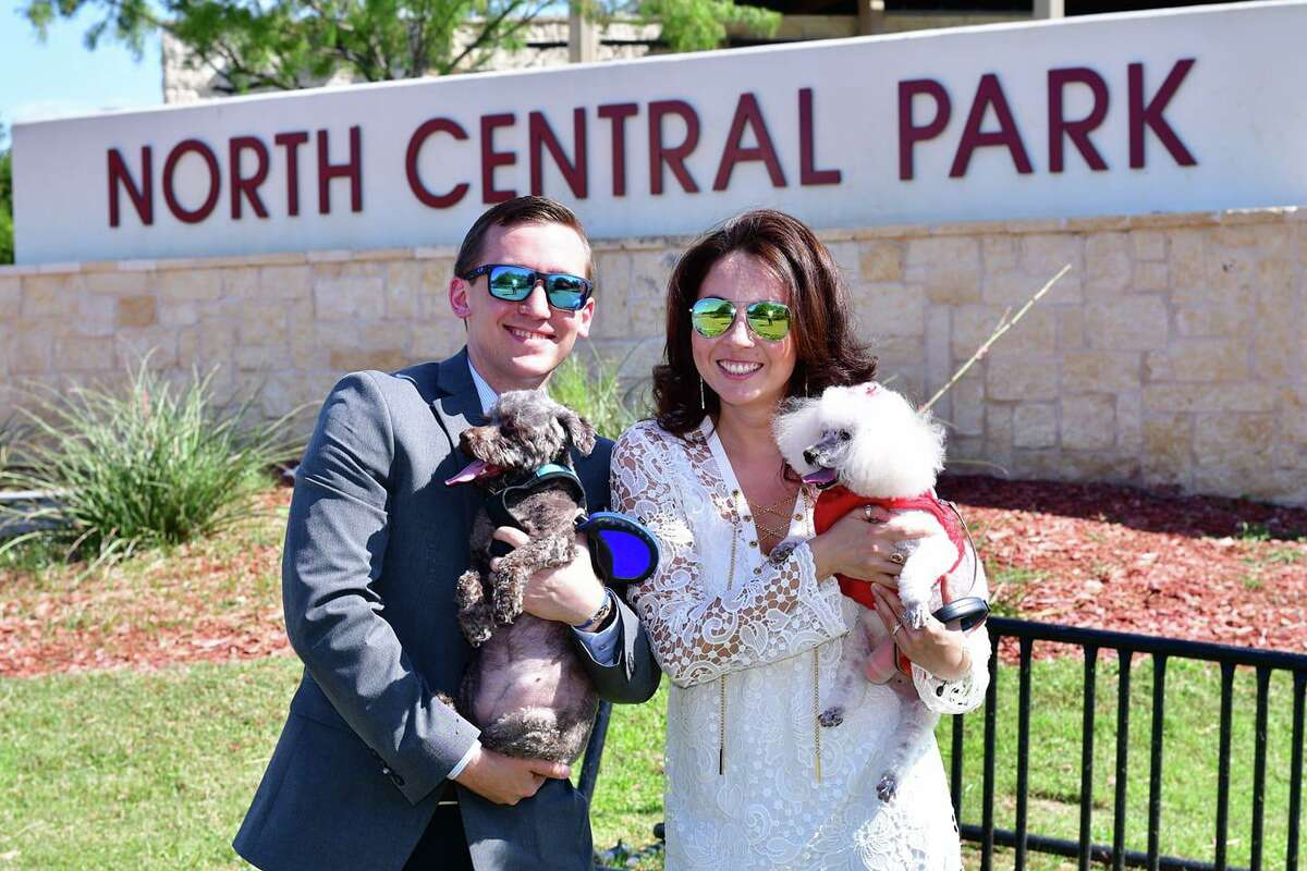Jason Mack and Viridiana Mercado are pictured at North Central Park with their dogs Koko and Chikis immediately after getting engaged on June 15, 2019.