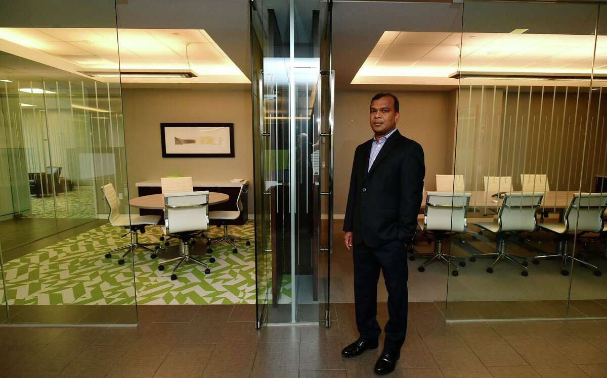 Criterion CEO Sunil Reddy at its offices at 301 Merritt 7 Friday, Sept. 18 in Norwalk. Criterion is the No. 1-ranked small company in this year's Top Workplaces.