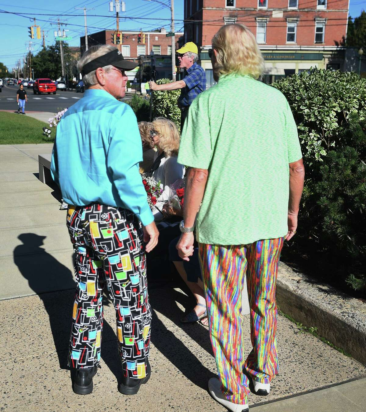 Colorful clothing among attendees at the crowning of Noreen Adams of West Haven as Ms. Connecticut Senior World in a ceremony outside City Hall West Haven Sept. 20, 2021.