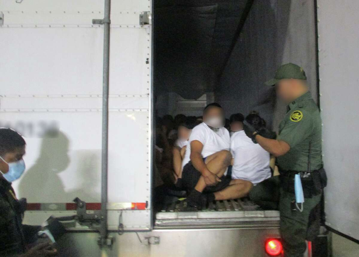 U.S. Border Patrol agents said they discovered 84 individuals inside a refrigerated trailer. All were determined to be migrants who had crossed the border illegally.