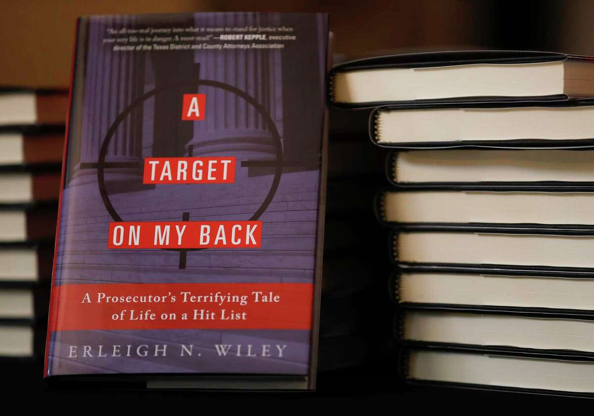 """Kaufman Country District Attorney Erleigh Wiley's book """"A Target On My Back"""" is seen during a Lake Conroe Area Republican Women's meeting, Thursday, Sept. 16, 2021, in Montgomery."""