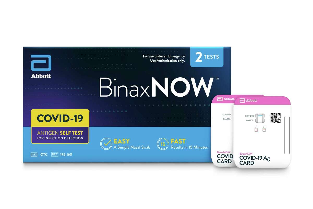 This image provided by Abbot in September 2021 shows packaging for their BinaxNOW self test for COVID-19. President Joe Biden is betting on millions more rapid, at-home tests to help curb the latest deadly wave of the COVID-19 pandemic, which is overloading hospitals and threatening to shutter classrooms around the country. But the tests have already disappeared from pharmacy shelves in many parts of the U.S., and manufacturers warn it will take them weeks to ramp up production, which was slashed after demand for the tests plummeted over the summer of 2021. (Abbot via AP)