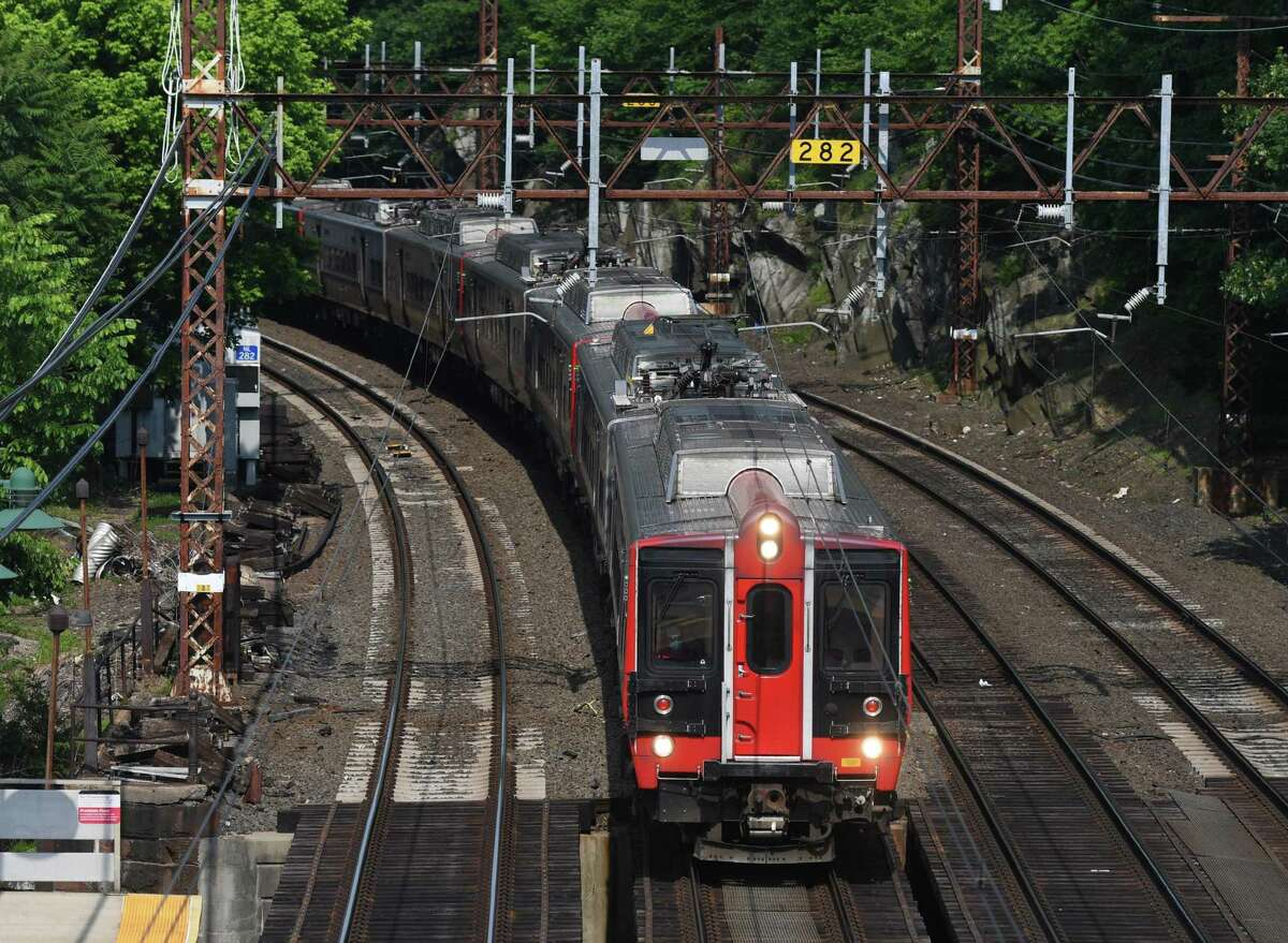 An express train speeds through the Greenwich Metro-North station in Greenwich, Conn. Wednesday, June 10, 2020. New York City has entered Phase 1 of reopening, and Metro-North has greatly expanded train service from Connecticut.