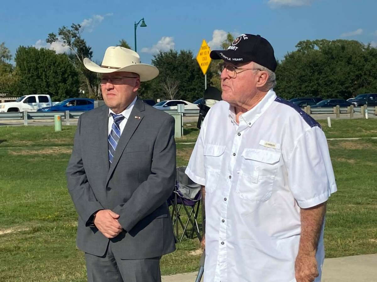 In recognition of the two Houston Police officers shot Monday morning there was a brief ceremony at the First Responders Flag at the Montgomery County Veterans Memorial Park Monday afternoon.