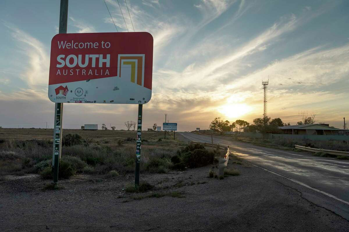 A sign on the border welcomes visitors to South Australia, which has barred entry to people coming from New South Wales because of the latter state's delta coronavirus variant outbreak.