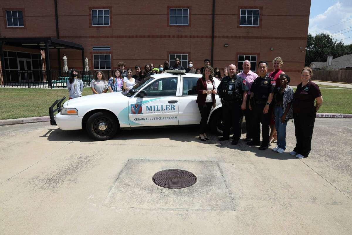 The Katy ISD Police Department donated two vehicles to the Katy ISD Miller Career & Technology Center on Sept. 16, 2021.