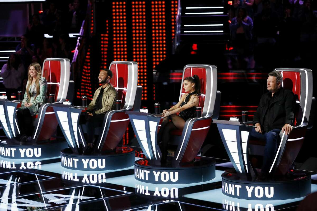 """THE VOICE -- """"Blind Auditions"""" -- Pictured: (l-r) Kelly Clarkson, John Legend, Ariana Grande, Blake Shelton -- (Photo by: Trae Patton/NBC/NBCU Photo Bank via Getty Images)"""
