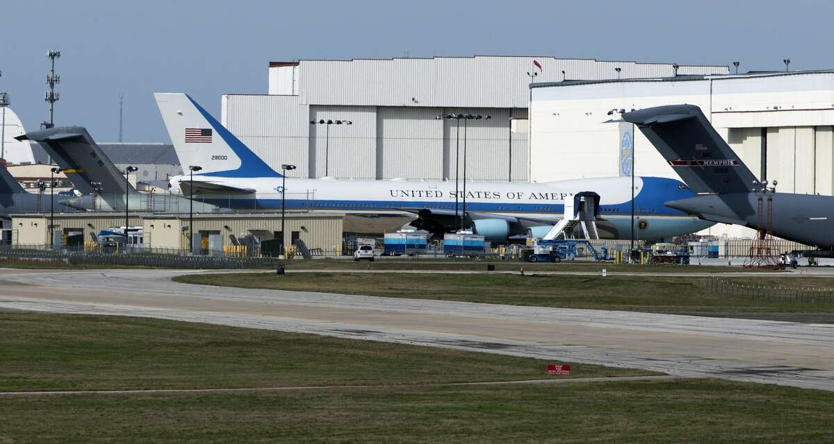 The modified Boeing 747, tail number 29000, commonly called Air Force One is seen Tuesday, Feb. 7, 2017 at Boeing's repair facility at Port San Antonio.