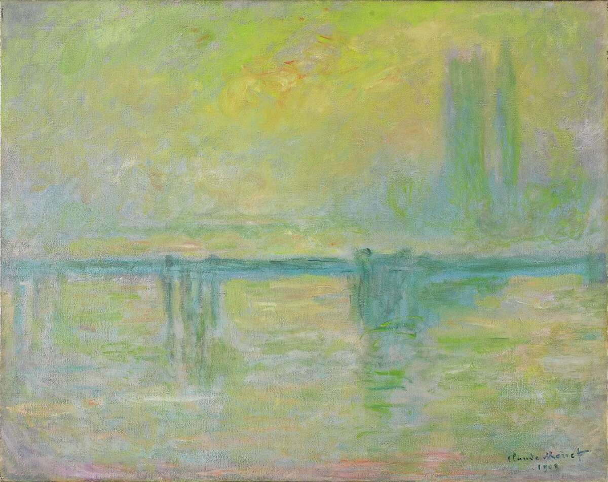 Claude Monet.Charing Cross Bridge, brouillard,1902. Oil on canvas. Collection of Art Gallery of Ontario.Gift of Ethel and Milton Harris, 1990. Photograph © AGO. Image has been proofed by Ian Lefebvre colour bars have been cropped June 2019.