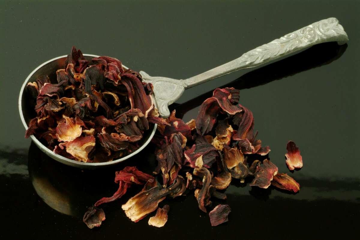 Dried Blossoms Of Roselle. Hibiscus Sabdariffa.