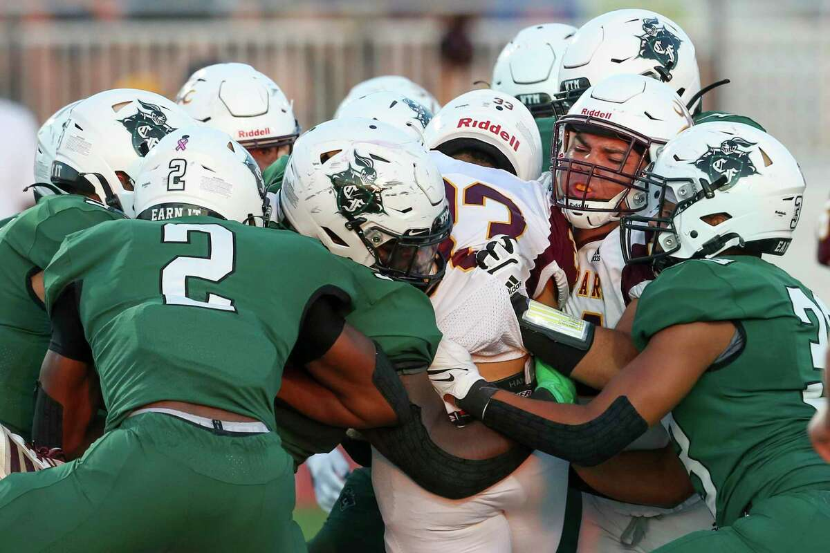 Gang-tackling will have to be the order of the day for Clear Falls if it is to beat Dickinson in a District 24-6A football game Friday at Veterans Memorial Stadium.