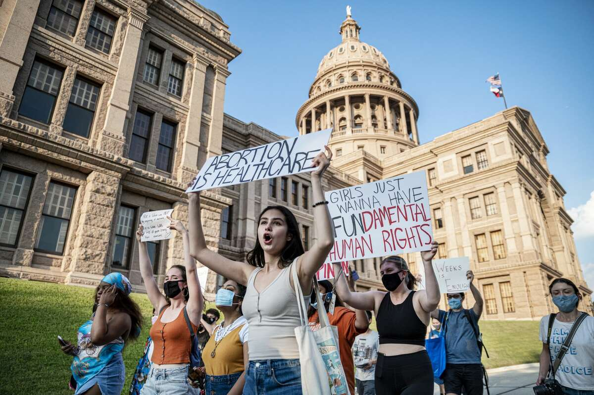 Pro-choice protesters march outside the Texas State Capitol on Sept. 1, 2021 in Austin, TX. Texas passed SB8 which effectively bans nearly all abortions and it went into effect Sept. 1.
