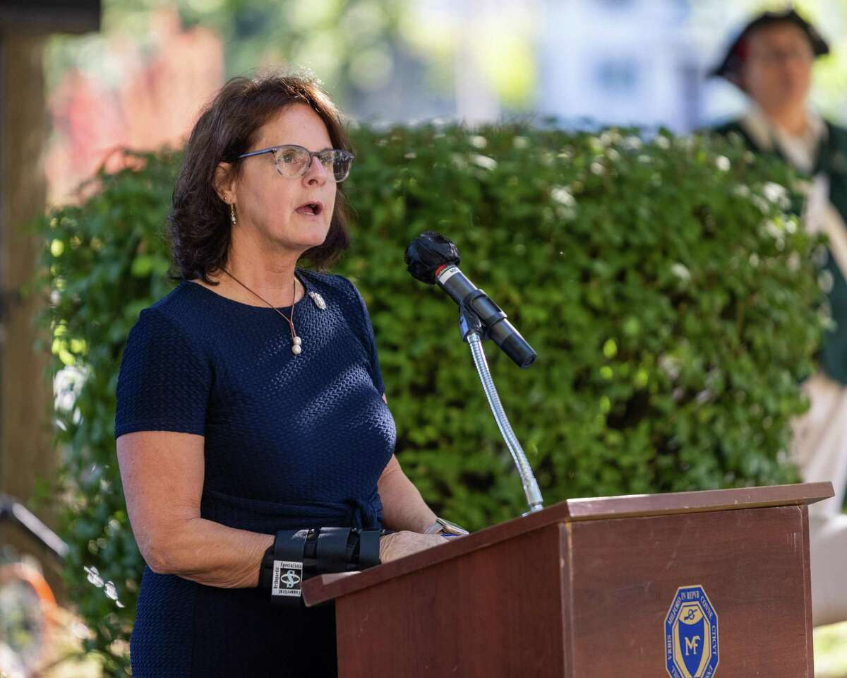 State Rep. Kathy Kennedy speaks during the Milford 9/11 ceremony at Milford City Hall on Saturday, September 11, 2021.