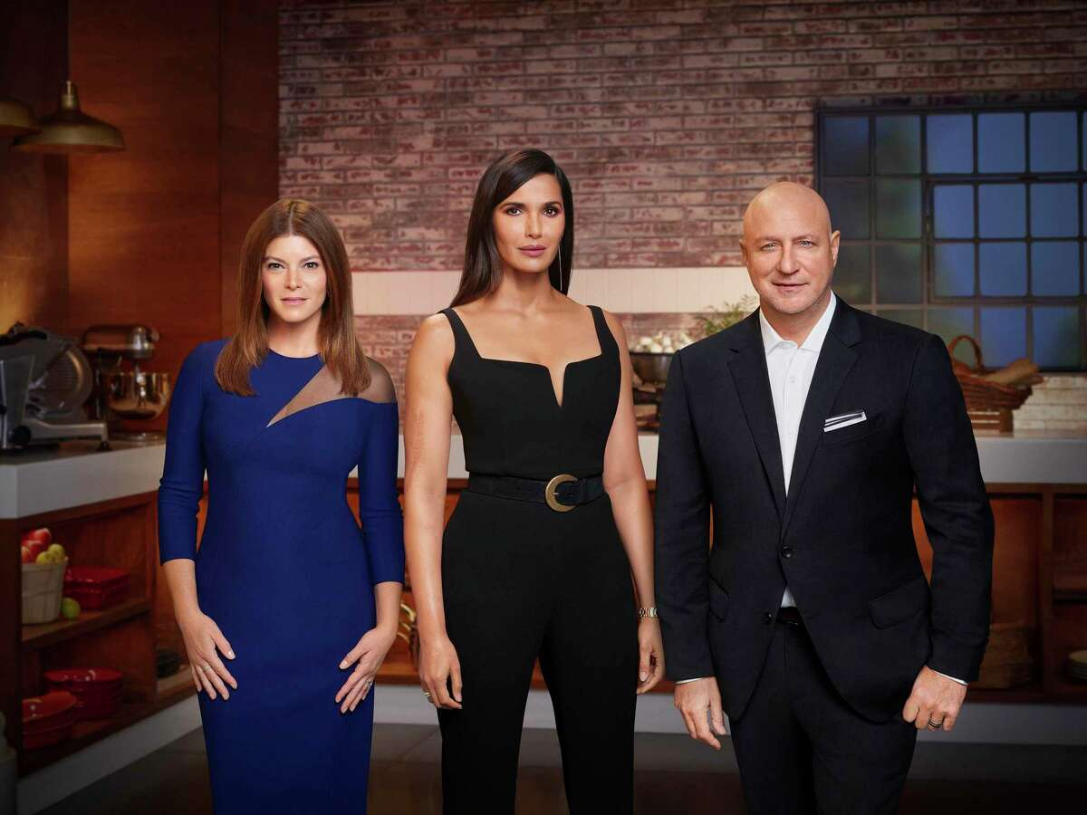 """Padma Lakshmi, center, hosts Bravo's """"Excellent chef,"""" flanked by Justice Gail Simmons and Chief Justice Tom Colicchio.  Houston will be the home port for the show's next season."""