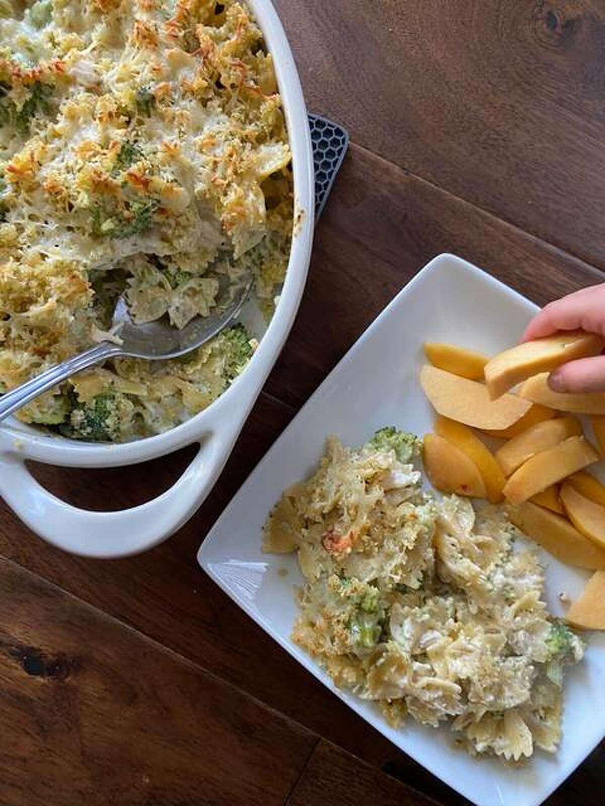 Chicken Alfredo Bake is quick, but also is amazing as leftovers so it's a win-win, says recipe creator Rachel Tritsch.