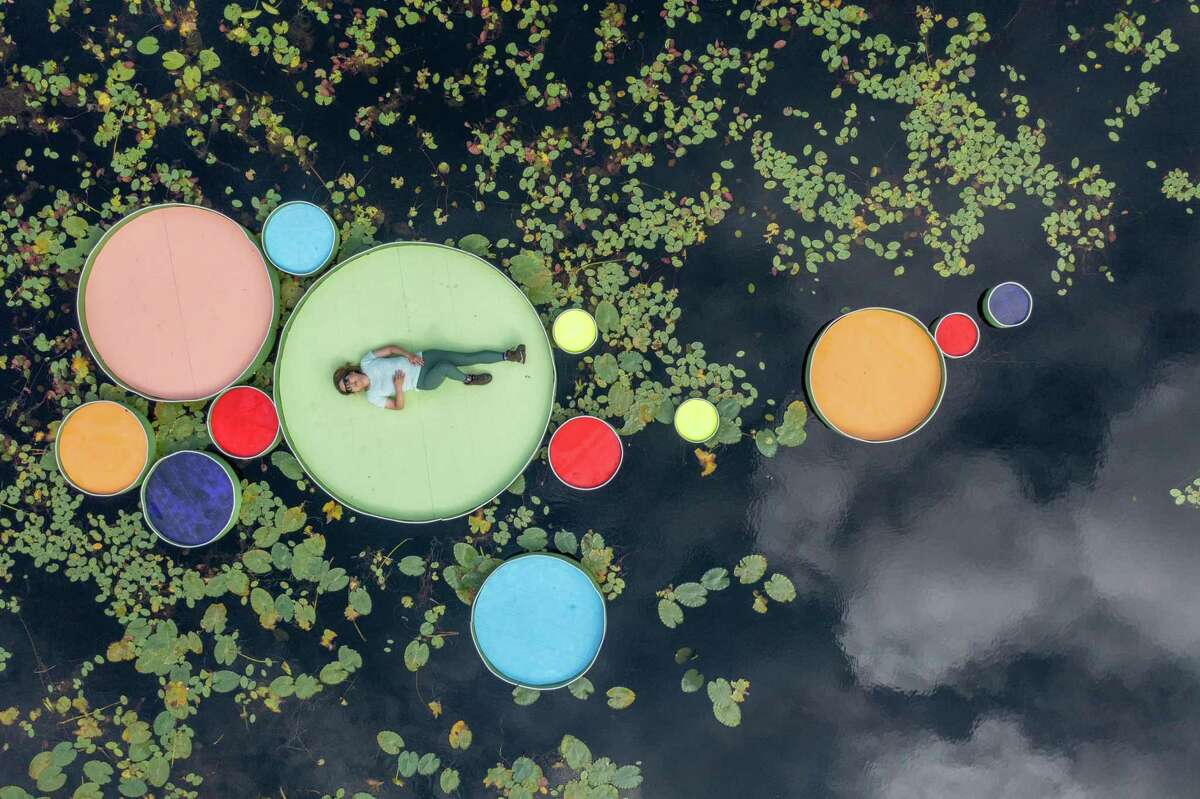 """A drone shot of """"The Lily Project,"""" 2021, by Haemee Han of jaemee studio."""