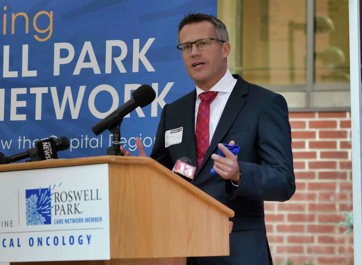 Dr. Thomas Schwaab, chief of Strategy, Business Development and Outreach Roswell Park, speaks at a ribbon cutting event at the hospital on Tuesday, Sept. 21, 2021, in Schenectady, N.Y. The ribbon cutting event was held to announce the opening of the new Ellis Medicine, Roswell Park medical oncology center.