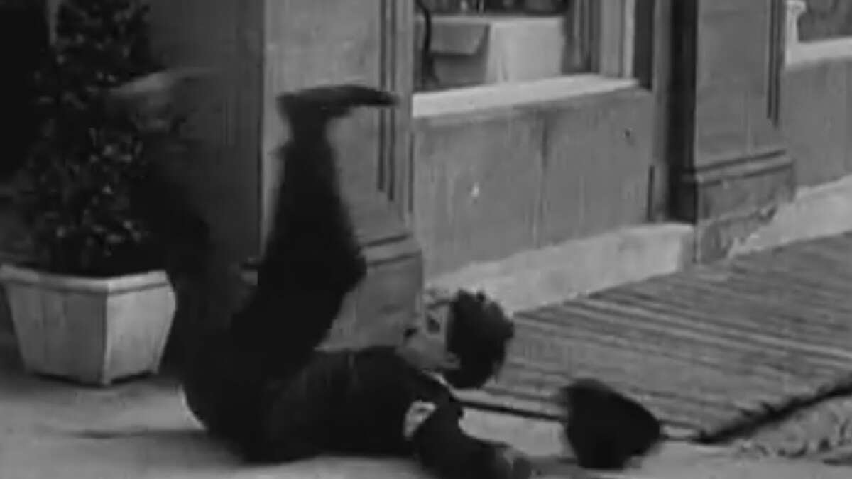 """Charlie Chaplin as """"The Tramp"""" in 1936's """"Modern Times"""" getting into the spirit of the season -- the fall season, that is. (Also known as Chekhov's Banana Peel Principle: """"If you show a banana peel in the first act ..."""")"""