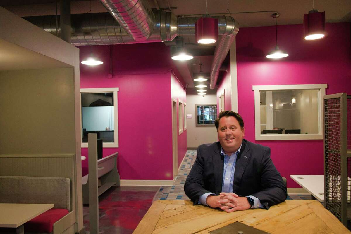 Tom Nardacci, owner of the Troy Innovation Garage, one of the Capital Region's first coworking spaces, poses for a photo at the Troy Innovation Garage on Tuesday, Sept. 21, 2021, in Troy, N.Y.