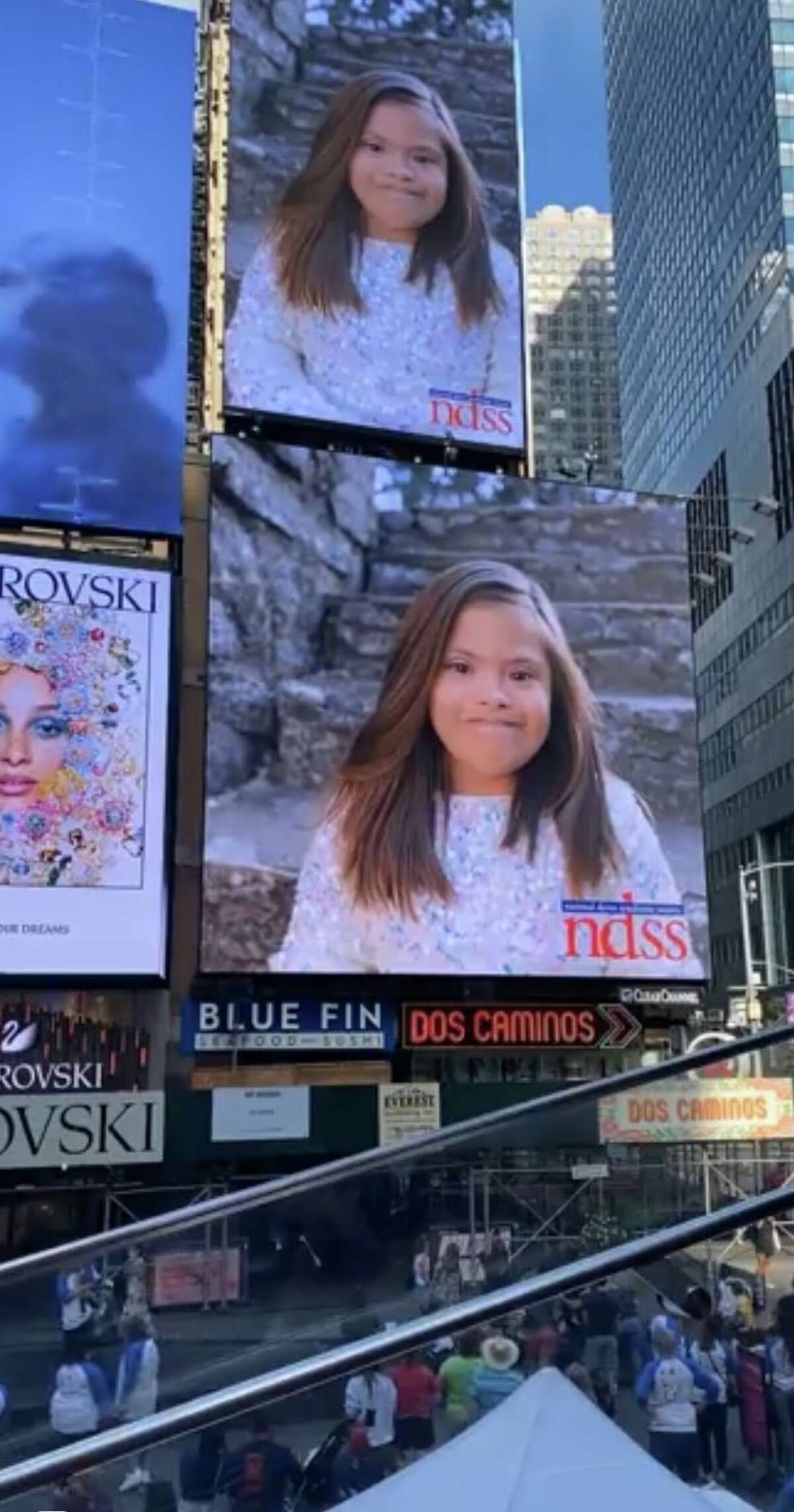 Audrey Diaz is an 8-year-old San Antonio girl who was featured in a Times Square video by the National Down Syndrome Society.