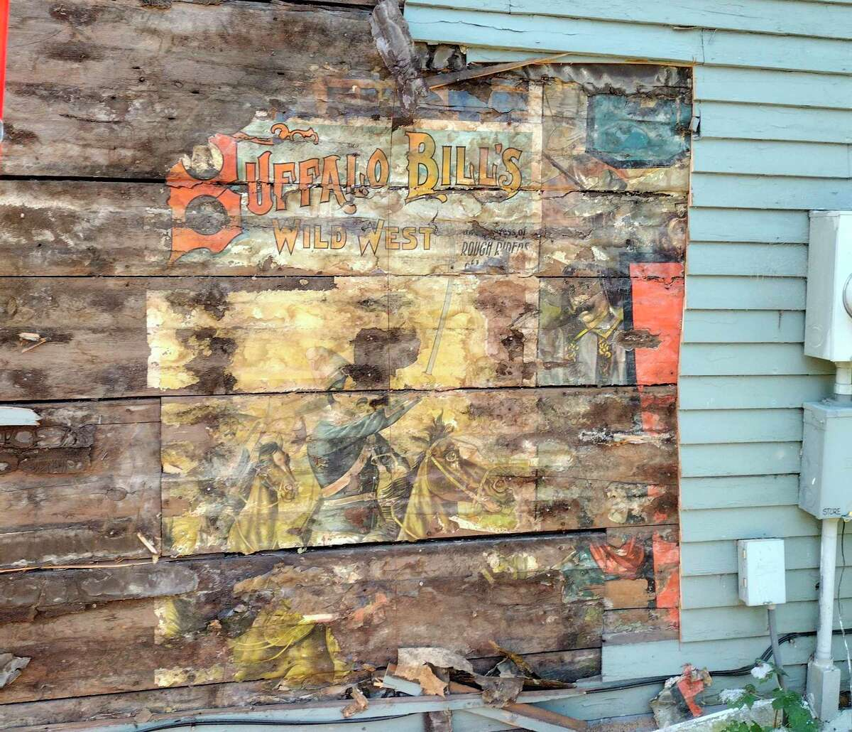 This poster forBuffalo Bill's Wild West and Congress of Rough Riders of the World Show was discovered last week in Manistee as workers removed siding off a building in the Oak Hill area in Filer Township. (Courtesy photo)