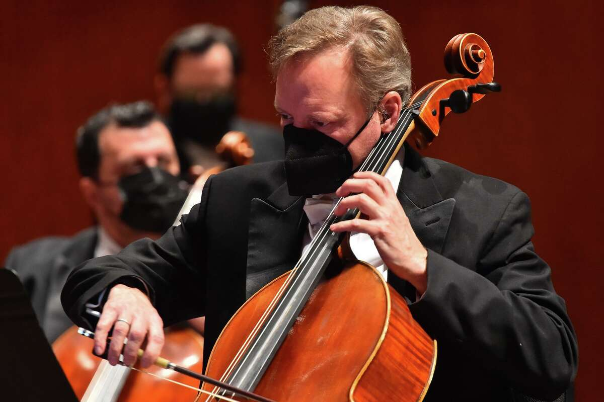 Members of the San Antonio Symphony stay socially distanced a February performance at the Tobin Center for the Performing Arts. Recent contract proposals would gut the symphony of talent.