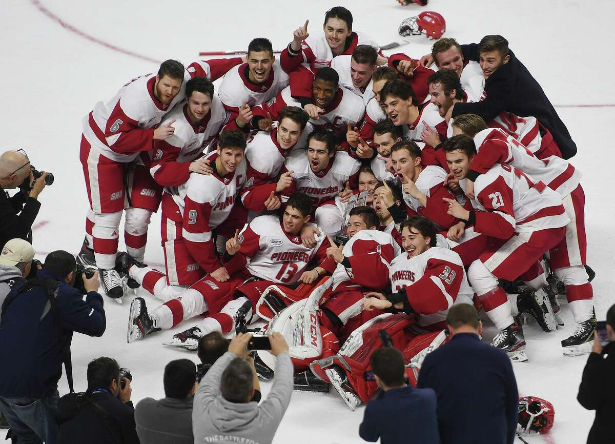 Sacred Heart defeats Quinnipiac 4-1 in the championship game of the Connecticut Ice college hockey tournament at the Webster Bank Arena in Bridgeport, Conn. on Sunday January 26, 2020.