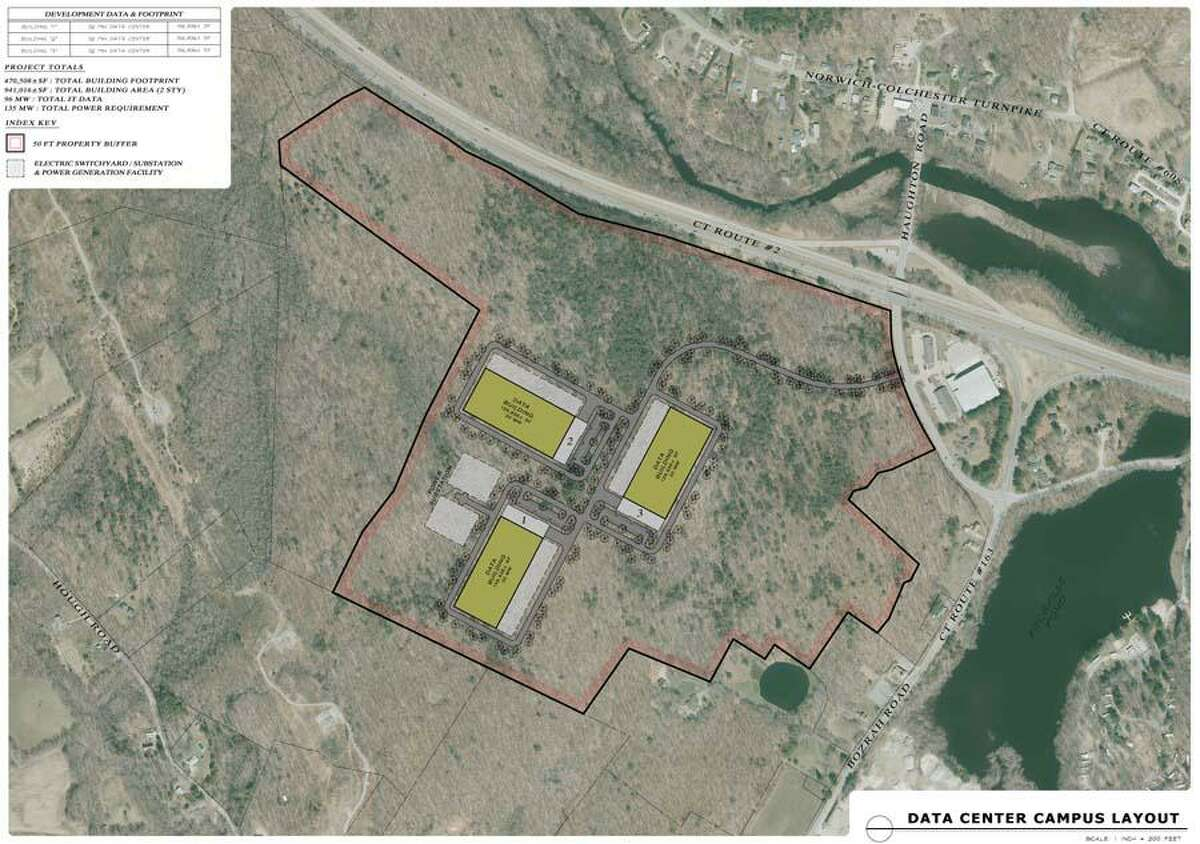This is the site layout for a data center proposed in Bozrah by the company GotSpace.