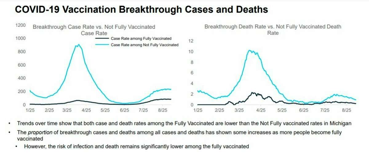 This graph compares the case rate and death rate of unvaccinated people vs. fully vaccinated people over time. (Screenshot/MI COVID Response Data and Modeling Update, Sept. 14)