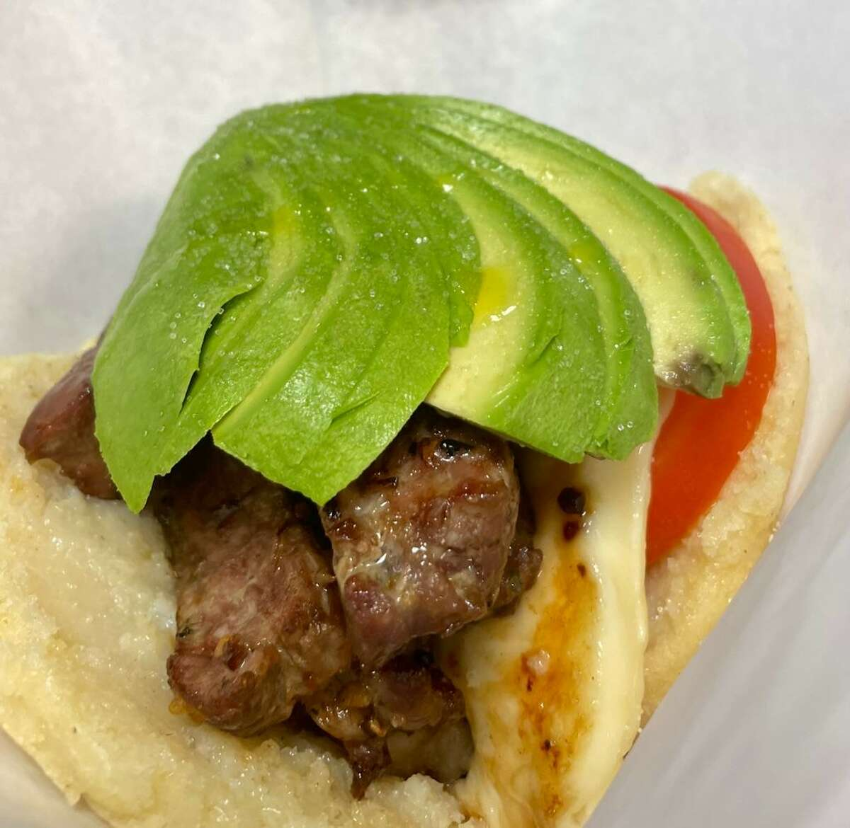 """""""The Grill"""" arepa from Mosaico Cuisine in Branford."""