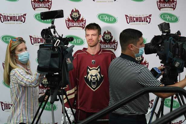 Albany FireWolves National Lacrosse League defenseman Greg Downing is interviewed in the home uniform on Tuesday, Sept. 21, 2021, during a press conference at the Times union Center in Albany, N.Y.