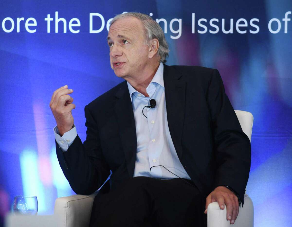 Ray Dalio, founder of Westport-based Bridgewater Associates, the world's largest hedge fund, speaks with Gillian Tett, the Financial Times' chairwoman of the board and editor-at-large in the U.S., during the first day of the 2021 Greenwich Economic Forum on Tuesday, Sept. 21, 2021, at the Delamar hotel at 500 Steamboat Road in Greenwich, Conn.