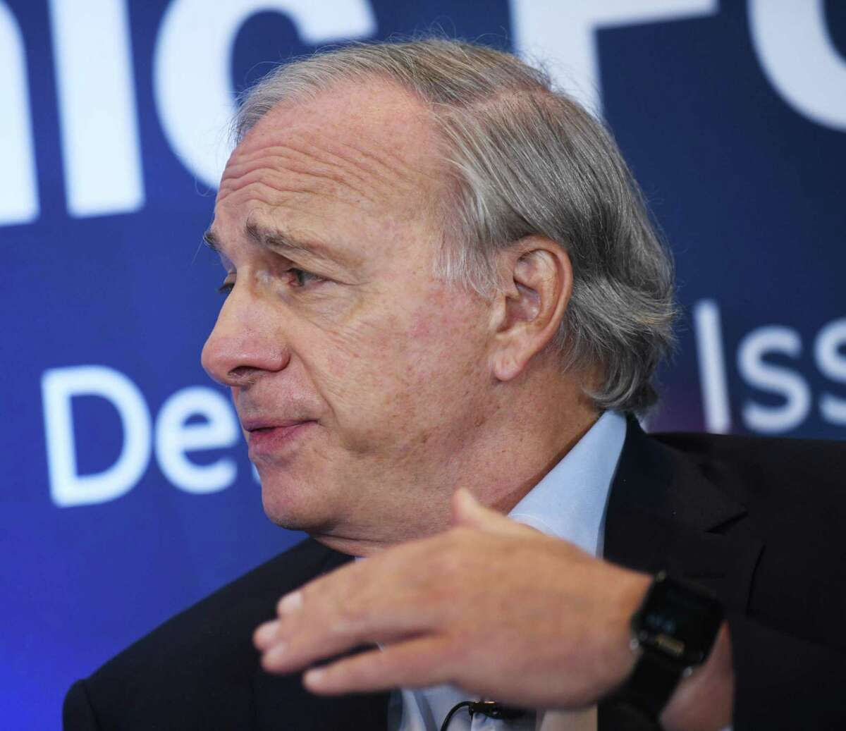 Ray Dalio, founder of Westport-based Bridgewater Associates, the world's largest hedge fund, speaks with Gillian Tett, Chairman of the Financial Times Board of Directors and US Editor-in-Chief on Day One of the Greenwich Economic Forum 2021 on Tuesday, September 21, 2021 at the Delamar Hotel at 500 Steamboat Road in Greenwich, Connecticut.