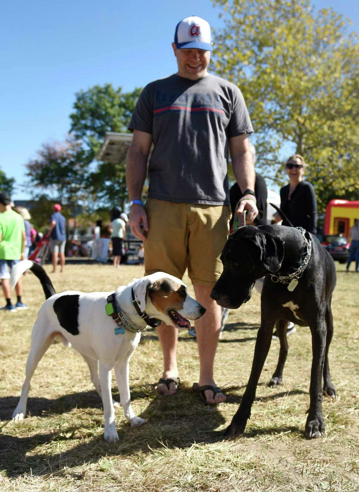 Greenwich's Adam Tubbs walks his adopted dog Hobbes, left, and Great Dane Zelda at Adopt-A-Dog's annual Puttin' on the Dog fundraising event at Roger Sherman Baldwin Park in Greenwich, Conn. Sunday, Sept. 29, 2019. Hundreds of humans and their canine companions enjoyed dog demonstrations and competitions, pet vendors on display, children's activities, food trucks and more.