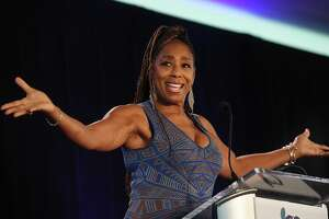 Actress, activist, and abuse survivor Dawnn Lewis delivers the keynote address at The Center for Family Justice's annual Speaking of Women fund raising luncheon at The Waterview in Monroe, Conn. on Tuesday, September 20, 2021.