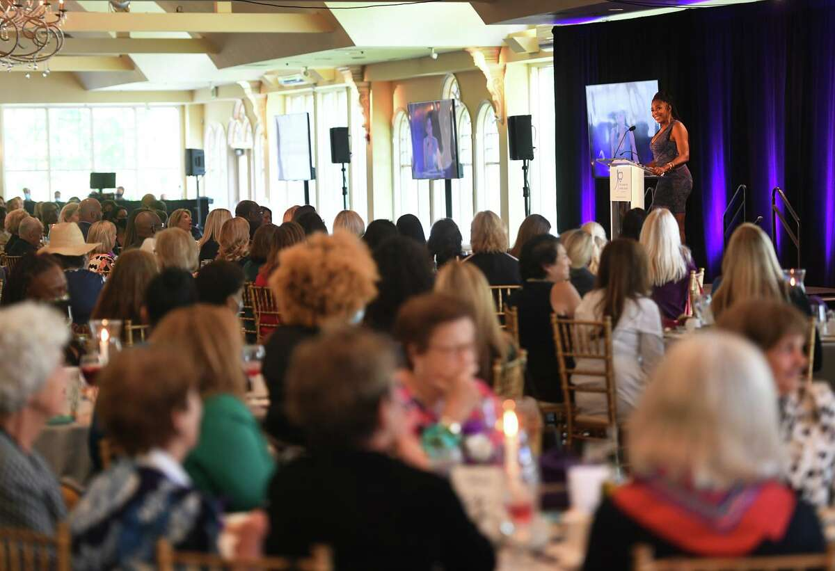 Actress, activist, and abuse survivor Dawnn Lewis delivers the keynote address to a packed house at The Center for Family Justice's annual Speaking of Women fund raising luncheon at The Waterview in Monroe, Conn. on Tuesday, September 20, 2021.