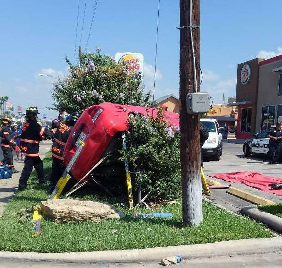 A woman in her 90s was injured in this rollover crash reported Tuesday in the 4600 block of San Bernardo Avenue. She was taken to the Laredo Medical Center in serious condition.
