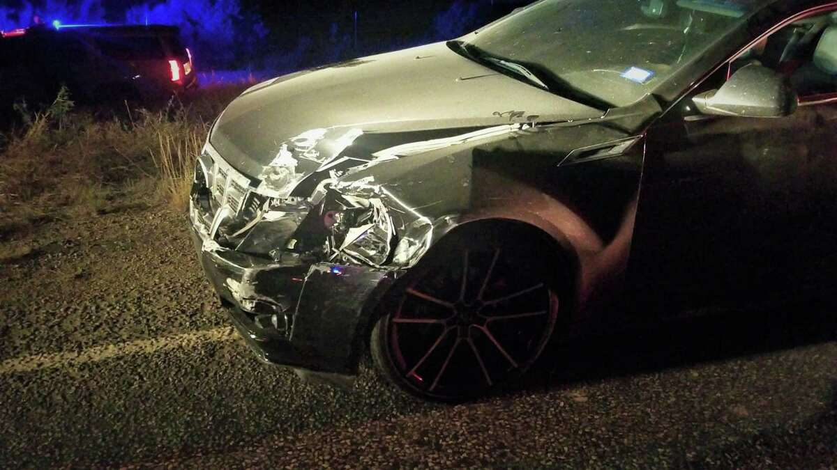 U.S. Border Patrol agents detained the driver of this Cadillac after he was involved in a hit-and-run crash. Laredo police officers would then take custody of him.