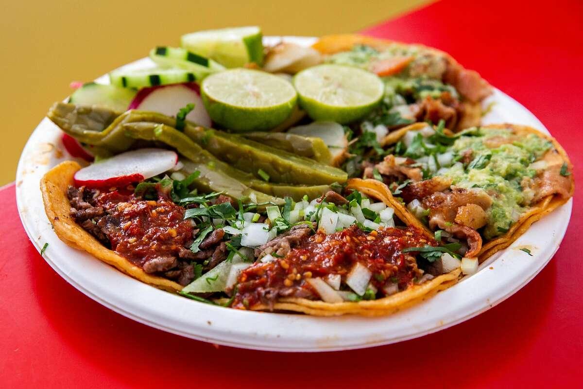 Suadero, tripa and carne asada tacos at Taqueria El Paisa@.com in Oakland, a new entry on Michelin Guide's Bib Gourmand list.