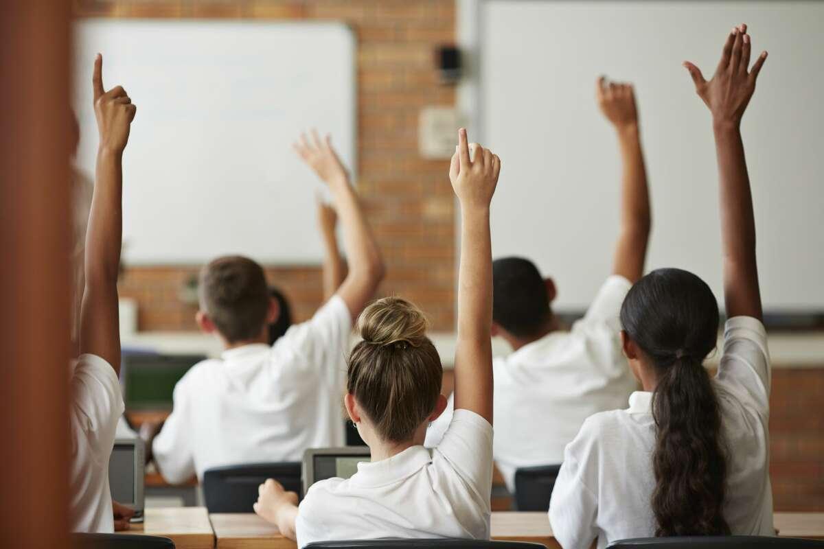 School students in class.