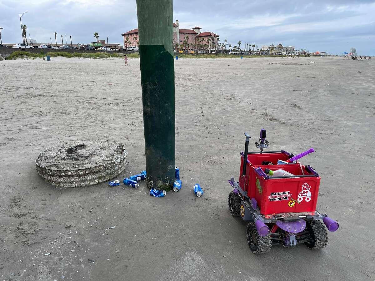 Glenn Morris created litter buggies to clean up the Galveston Seawall.