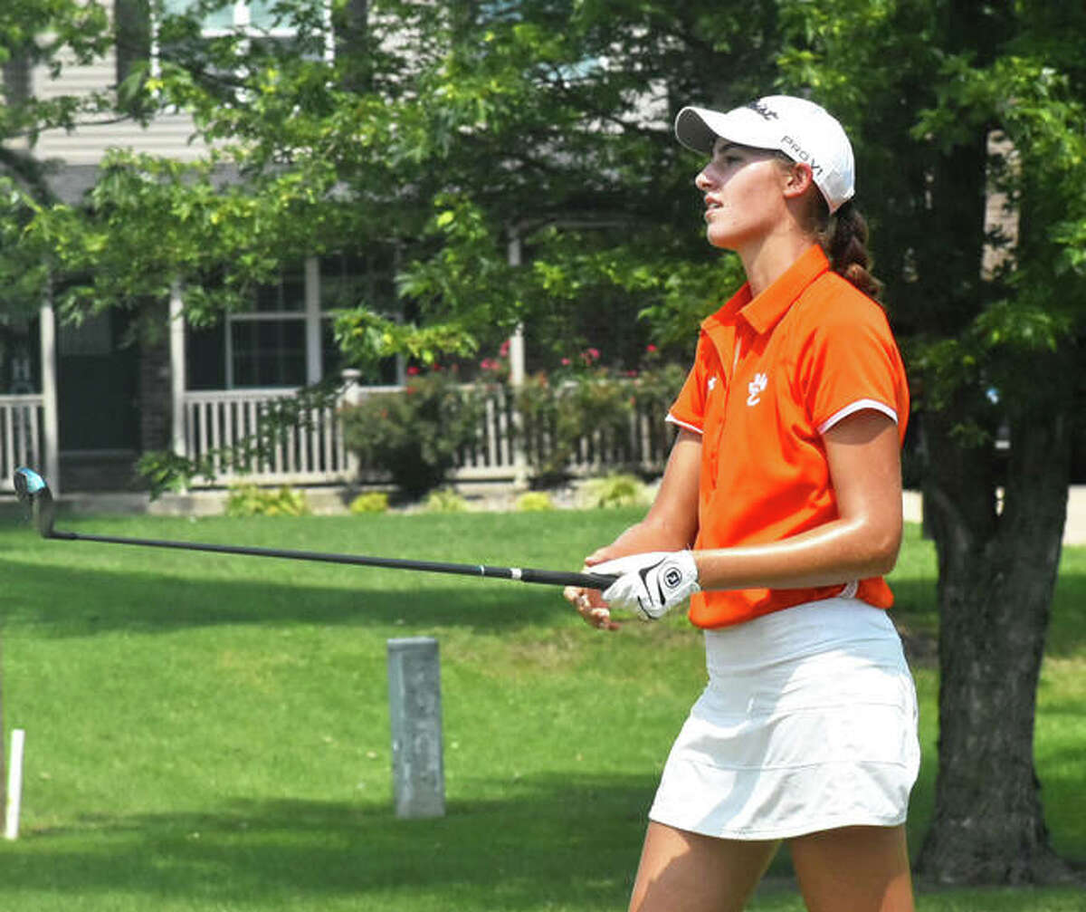 Edwardsville's Nicole Johnson fired a 77 Tuesday in the second round of the Southwestern Conference Girls Golf Tournament at Belk Park and finished with a two-round total of 142, one stroke ahead of EHS teammate Grace Daech, whose 72 on Tuesday gave her a total of 143. Jonson is shown in action earlier this season.