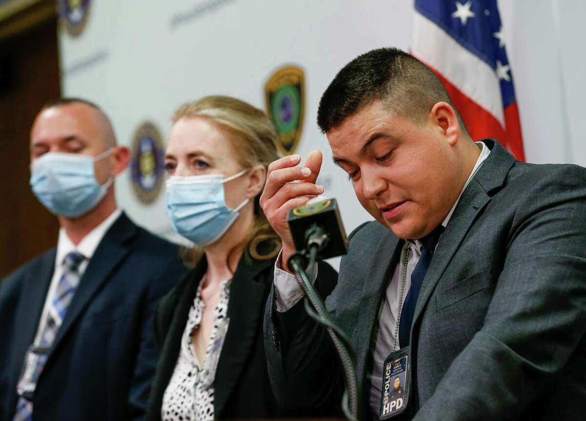 Houston Police Department Special Victims Division detective Jose Garza talked to reporters about the arrest of a serial sexual assault suspect - Morris Holton III - during a press conference at HPD Headquarters on Tuesday, Sept. 21, 2021, in Houston. Holton III, who was arrested on July 2, was charged with three counts of aggravated sexual assault, two counts of aggravated robbery with a deadly weapon and one count of aggravated kidnapping in the 262nd State District Court. HPD urged other possible victims to come forward.