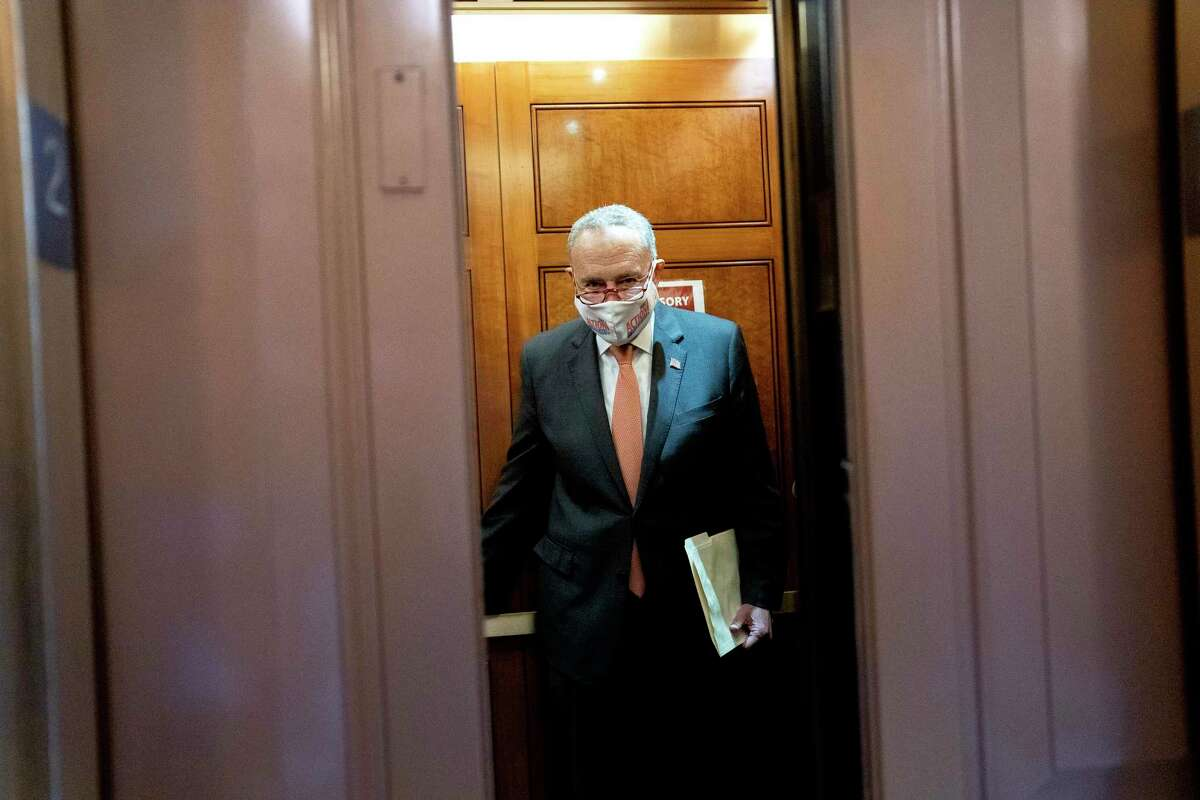 Senate Majority Leader Chuck Schumer (D-N.Y.) boards an elevator at the Capitol in Washington, Sept. 21, 2021. (Stefani Reynolds/The New York Times)