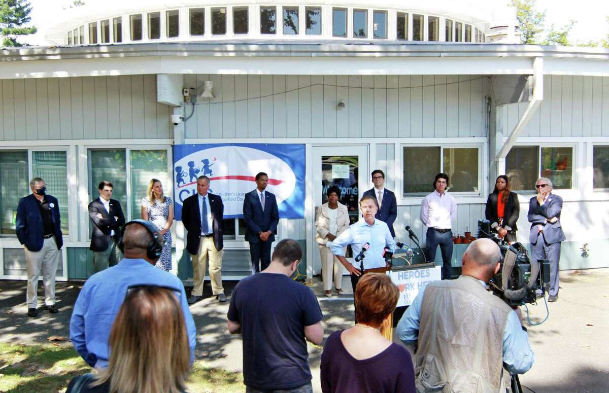 Gov. Ned Lamont speaks during a visit to Children's Learning Center in Stamford on Tuesday, highlighted the center's work to address education, public and mental health disparities, especially during the pandemic.