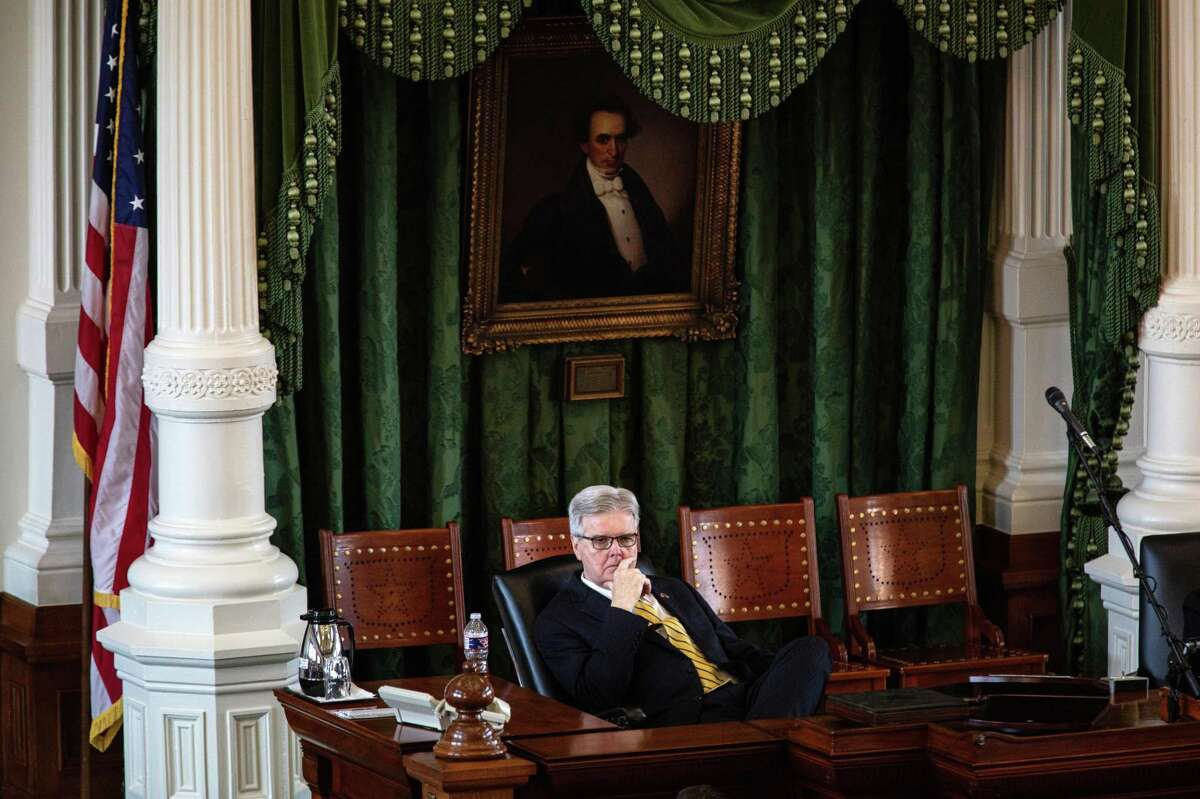 Lt. Gov. Dan Patrick listens to a state senator speak in the Senate chamber on the first day of the 87th Legislature's third special session at the State Capitol on September 20, 2021 in Austin, Texas.