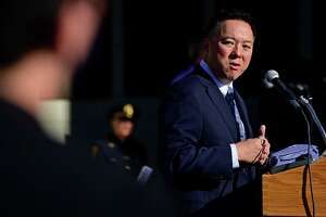 Connecticut Attorney General William Tong speaks as The City of Norwalk holds their 9/11 20th Year Remembrance Ceremony outside city hall Friday, September 10, 2021, in Norwalk, Conn.