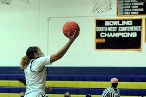 Notre Dame of Fairfield's Aizhanique Mayo (2) lays up the ball to score during girls basketball action against Kolbe Cathedral in Fairfield, Conn., on Tuesday Feb. 23, 2021.