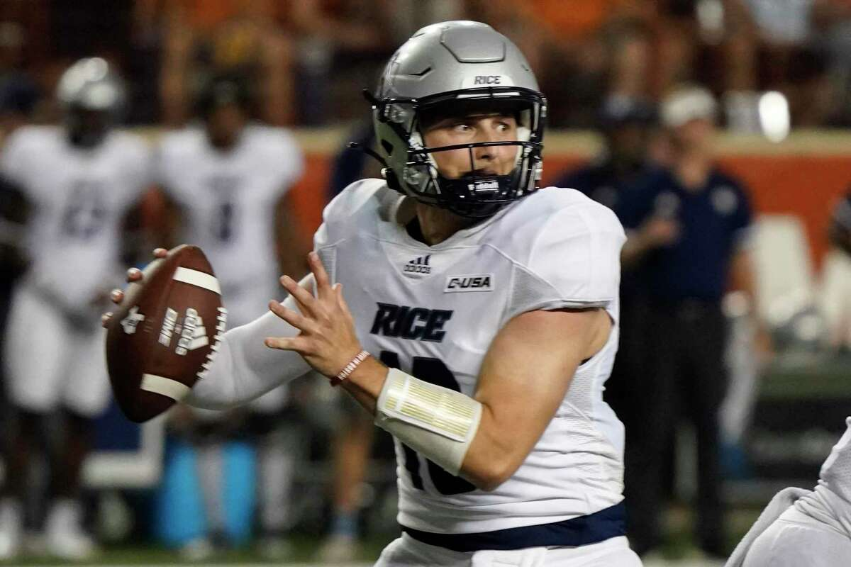 In his first game action since 2019, when he quarterbacked Weber State, Jake Constantine completed 12 of 15 passes for Rice in its loss at Texas last Saturday.